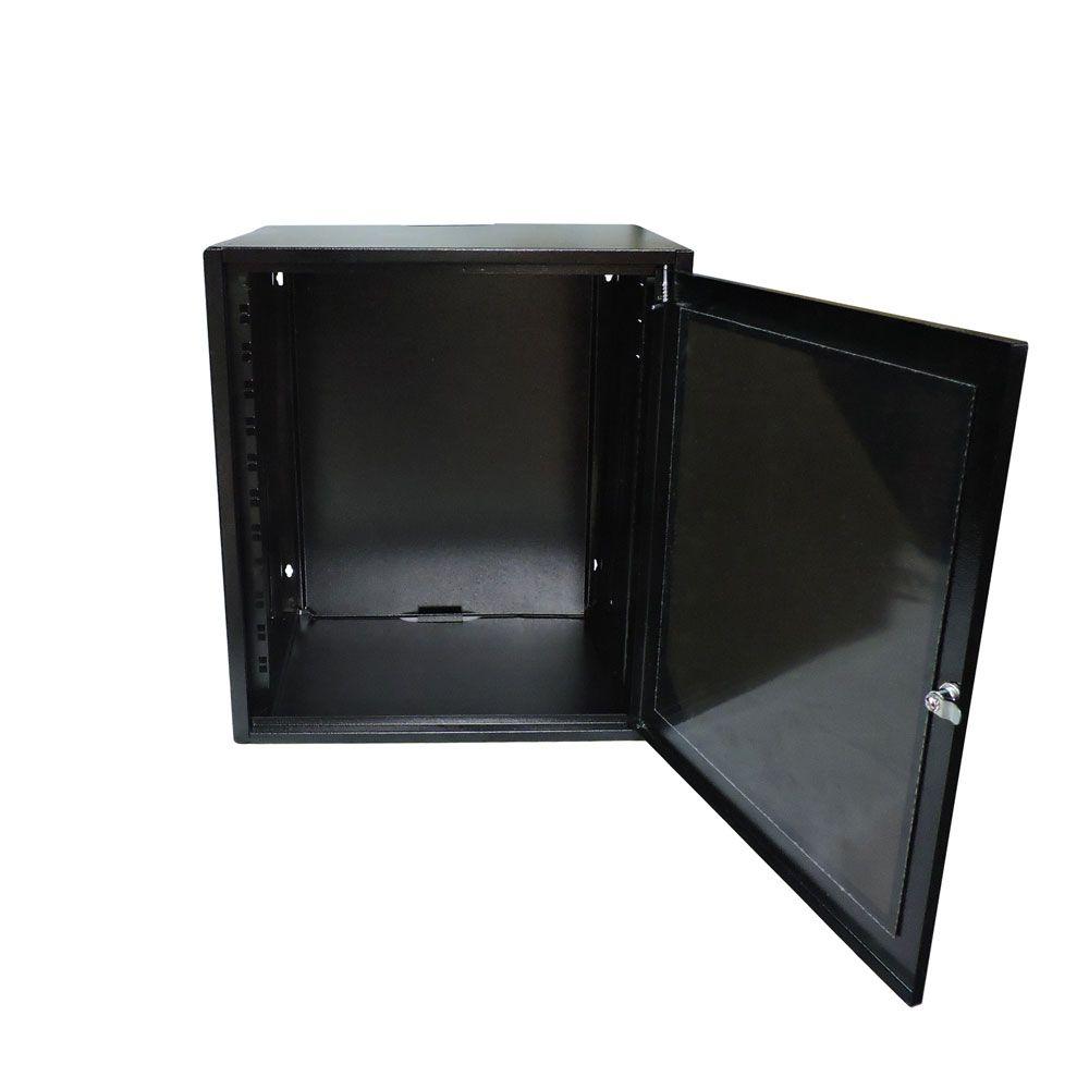 Mini Rack de Parede 12Ux400mm desmontável C/FUNDO Preto - G