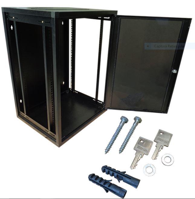 Mini Rack de parede 16U X 370 preto texturizado - W