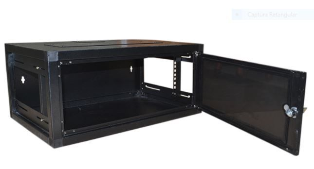 Mini RACK de Parede Padrão 19'' Para Cabeamento Estruturado e CFTV 4U X 570mm Preto Texturizado