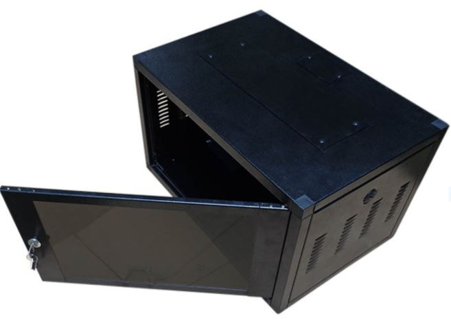 Mini Rack de Parede Padrão 19'' Para Cabeamento Estruturado e CFTV 6U X 370mm Preto Texturizado