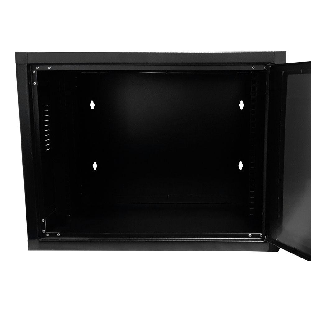 MINI RACK de Parede Padrão 19'' Para Cabeamento Estruturado e CFTV 8U X 370mm Preto Texturizado