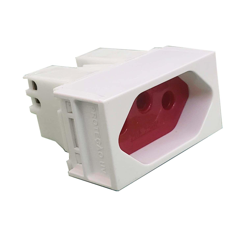 Módulo Tomada tampa vermelha 20A 250V  - Linha Slim Ilumi