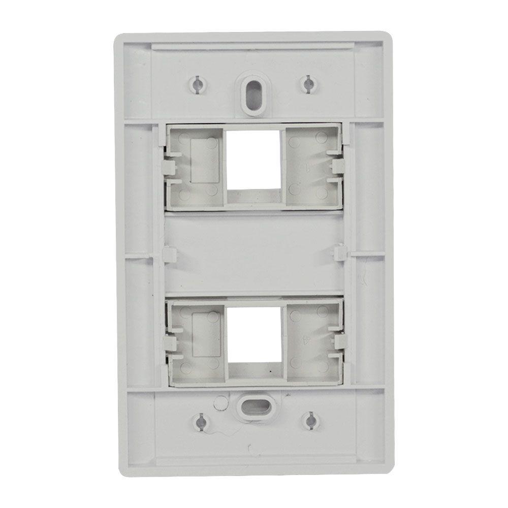 Pacote c/ 10 Pçs de Espelho 4x2 (12 cm x 7,5 cm) 02 Saídas RJ Modulo Removível Branco