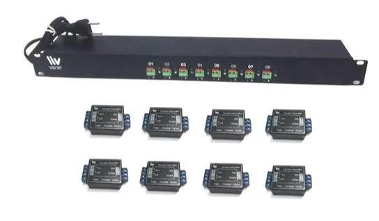 """Painel 19"""" 1U - Conversor Hibrido 600m - 8 Canais para CFTV s/ alimentação"""