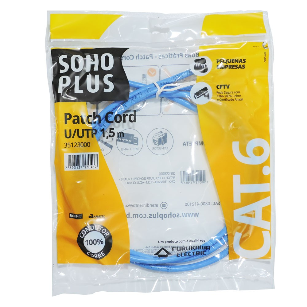 Patch Cord Cat6 1,5m Furukawa Soho plus azul
