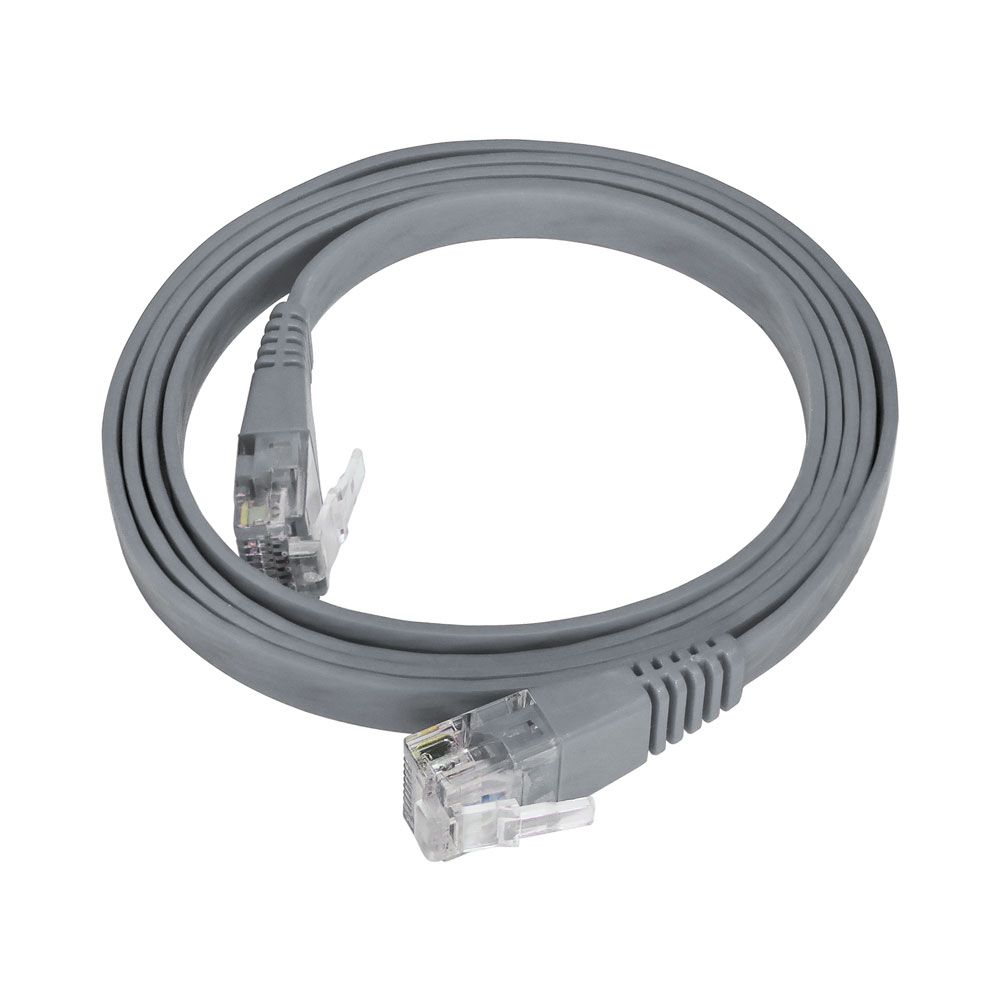 Patch Cord Flat Cable RJ45 Gigabit Flexível Cat6 1m Cinza