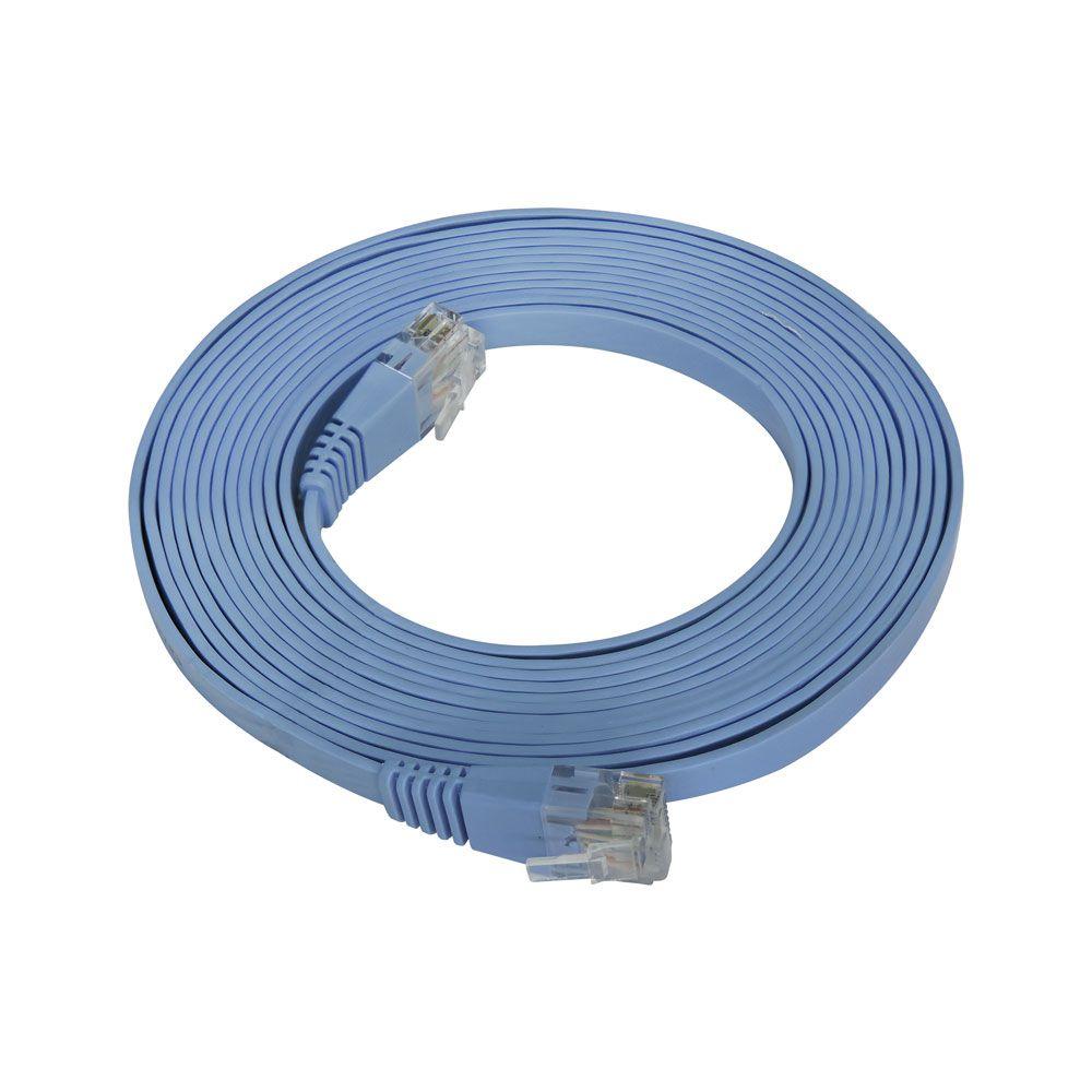 Patch Cord Flat Cable RJ45 Flexível Cat6 3m Azul