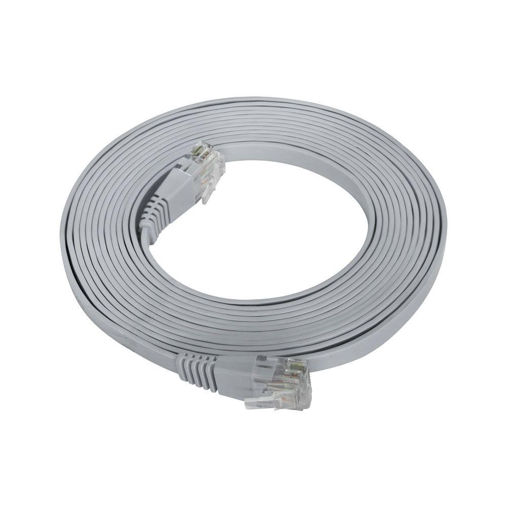 Patch Cord Flat Cable RJ45 Gigabit Flexível Cat6 3m Cinza