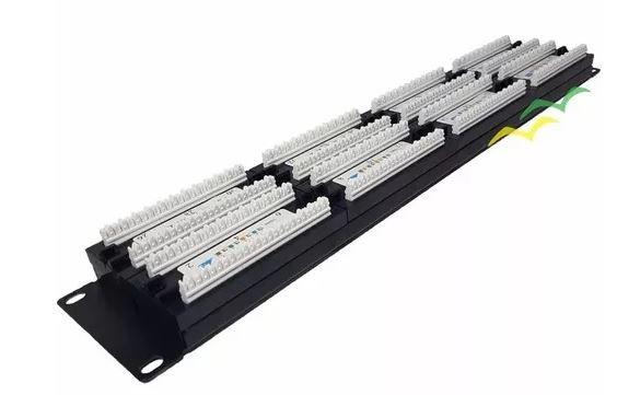 Patch Panel RJ45 Cat 5e 48 Portas padrão 19 polegadas - Pier Telecom