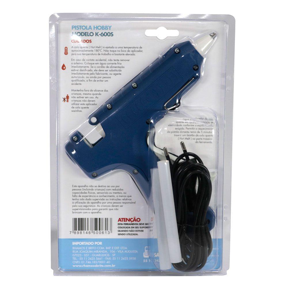 Pistola Aplicadora para cola quente  semi-profissional com botão liga / desliga K-600s