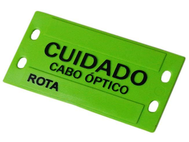 Plaqueta de Identificação Óptica Verde plástica em alto relevo