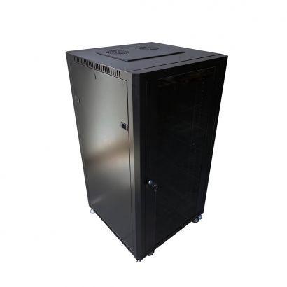 Rack de Piso 22Ux600 mm desmontado - Preto C/ Rodizio e porta de vidro - PierTelecom