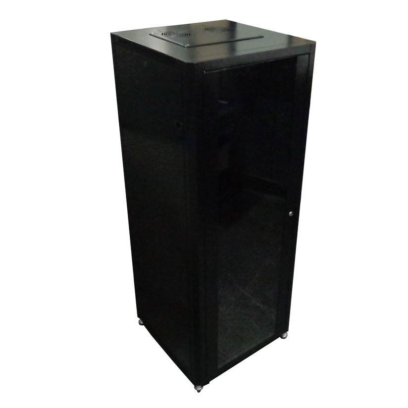 Rack de Piso 42Ux600 mm desmontado - Preto C/ Rodizio e porta de vidro - PierTelecom