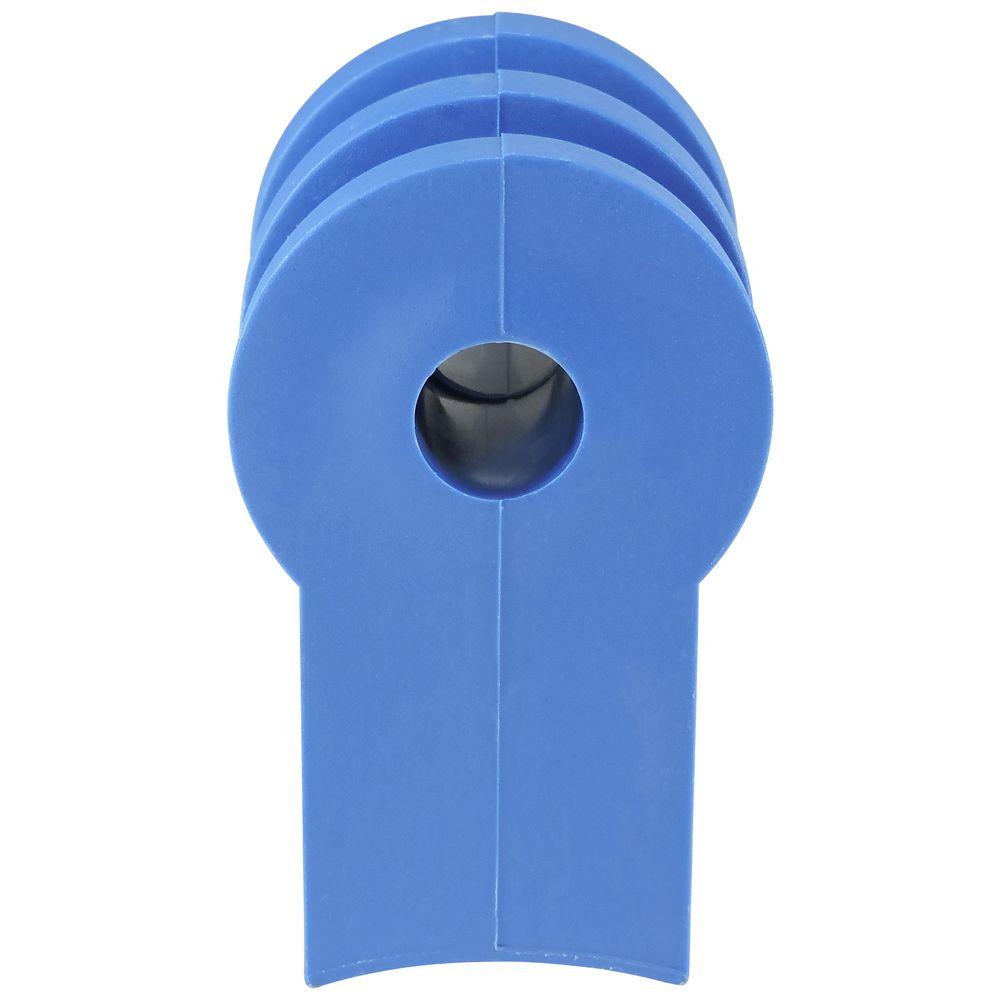 Roldana Plástica 2 Ranhuras Com Suporte Injetado - Azul