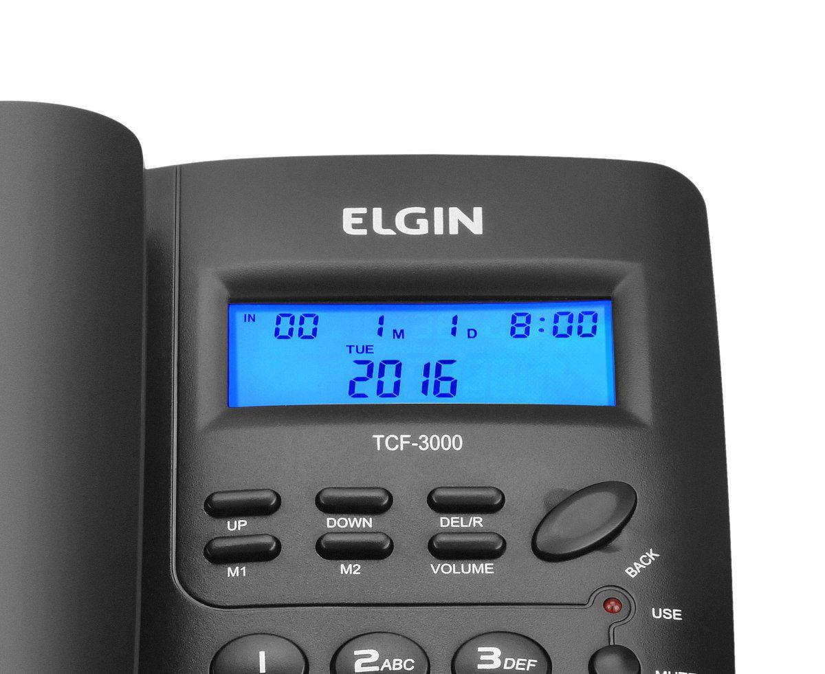 Telefone com Fio Identificador de Chamadas Viva Voz - Cor Preta - ELGIN