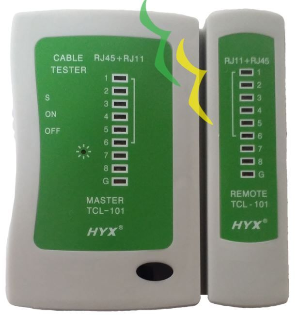 Testador de Cabos com Leds TCL-101 HYX RJ11/RJ45 - CINZA