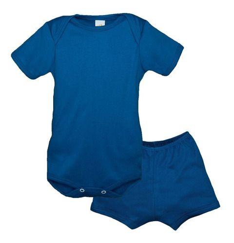 Conjunto 1 Body Manga Curta 1 Short Baby Duck Liso Azul Roya