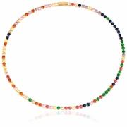 Colar Choker Riviera de Zircônias Color Rainbow Banho Ouro 18k