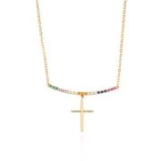 Colar com Pingente de Cruz e Zircônias Color Rainbow Banho Ouro 18k
