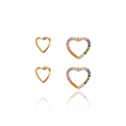Duo de Brincos de Coração com Zircônias Color banho Ouro 18k