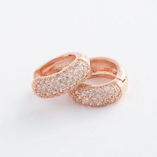 26a5344b143 Brinco Argola Grande Cravejado com Zircônias Brancas Banhado a Ouro Rosé