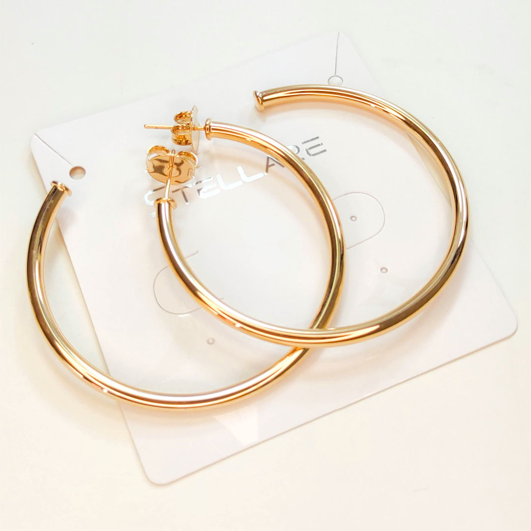 Brinco Argola 5cm Tubular Banho Ouro 18k