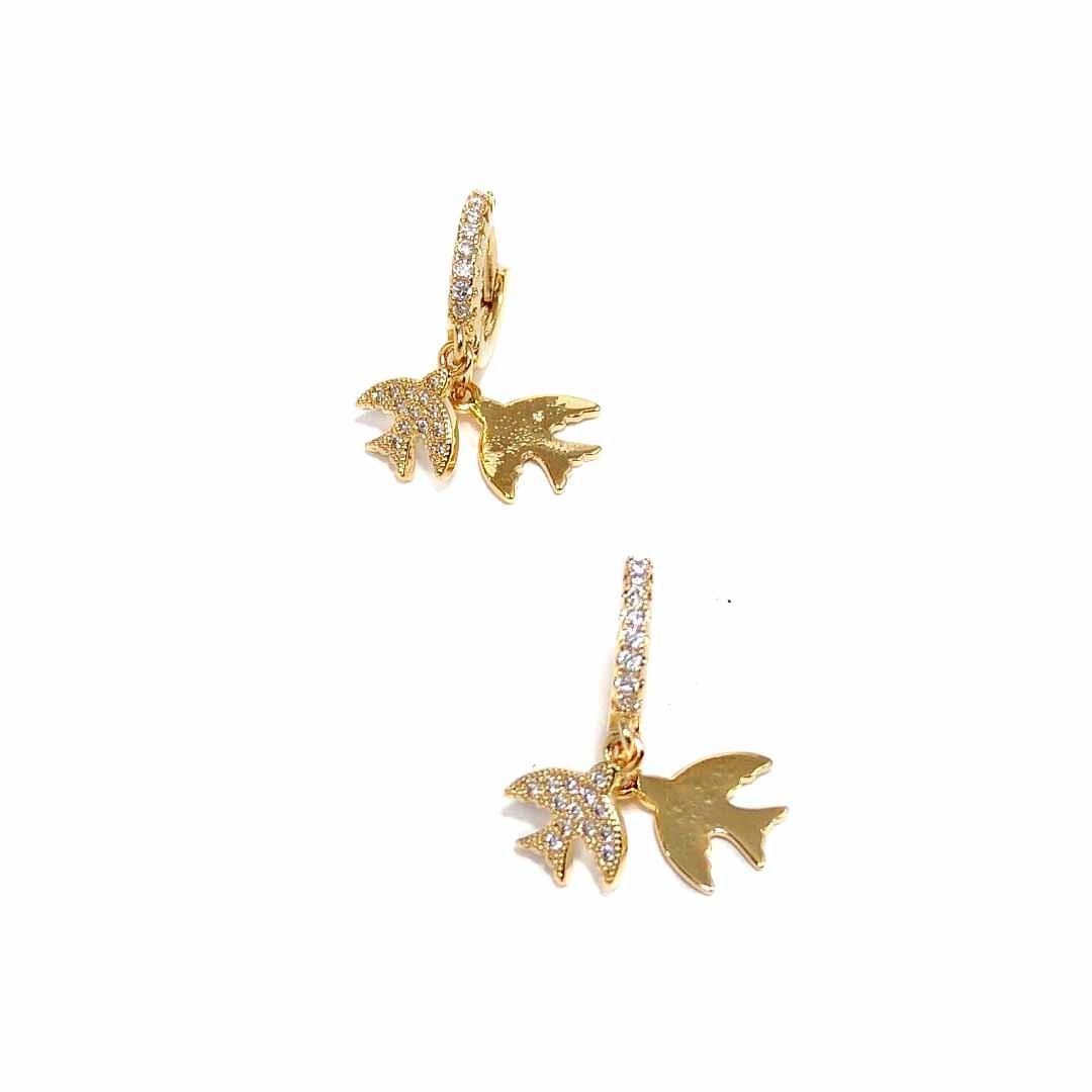Brinco Argola com Pingentes de Pássaros com Zircônia Banho Ouro 18k