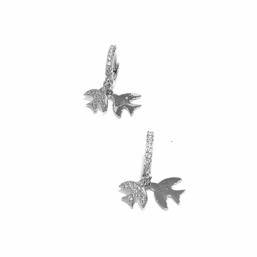 Brinco Argola com Pingentes de Pássaros com Zircônia Banho Ródio Branco