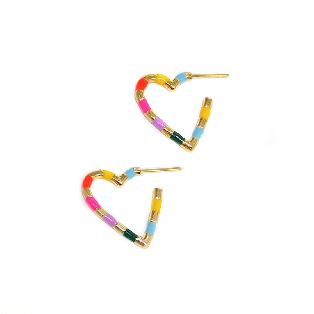 Brinco Argola Coração Esmaltada Color banho Ouro 18k