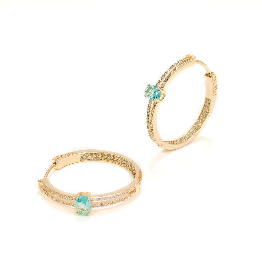 Brinco Argola Luxo Festa Cravejada com Cristal Azul Turquesa banho Ouro 18k