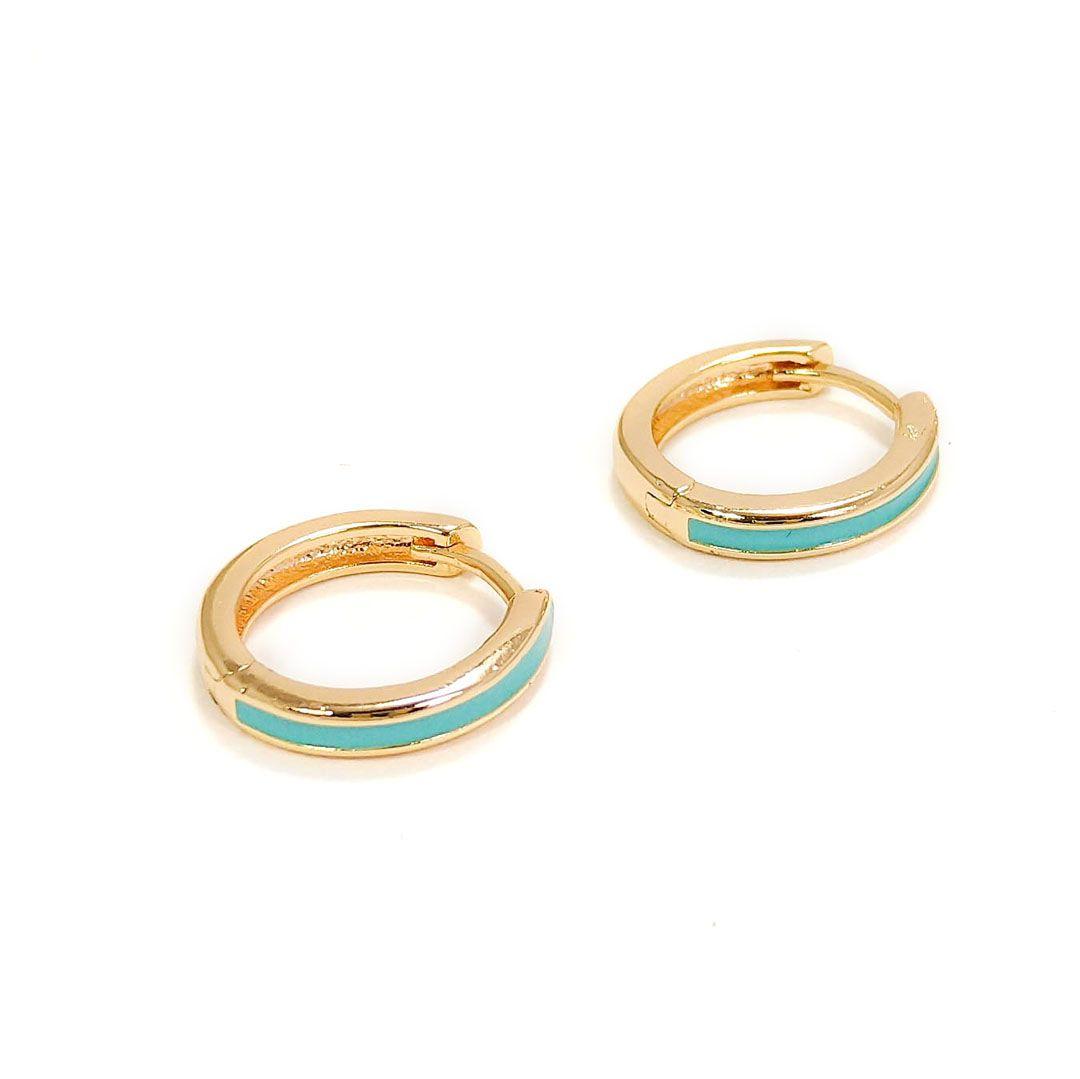 Brinco Argola Média com aplique Esmaltado Azul Turquesa Banho Ouro 18k