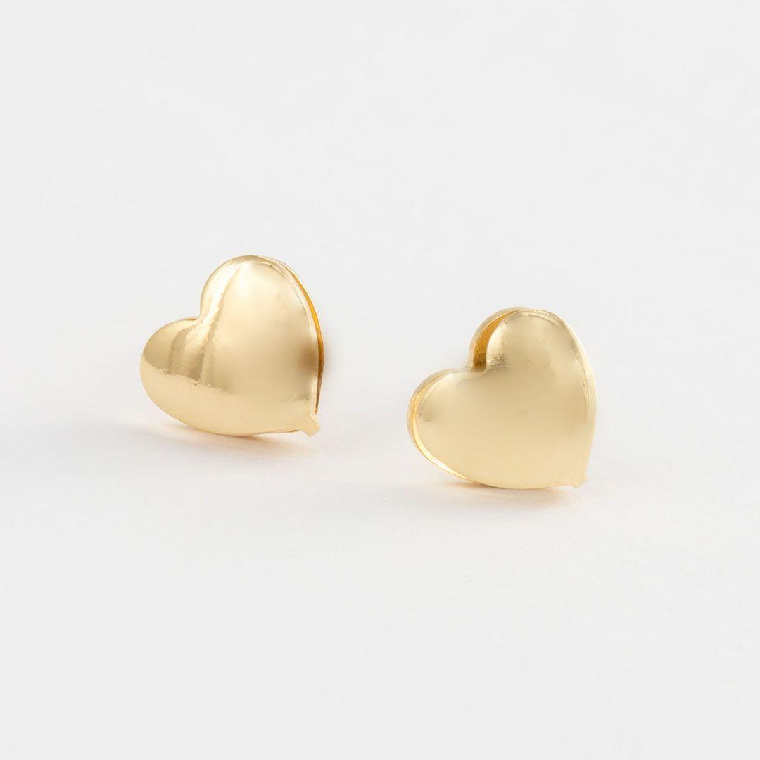 Brinco Coração Liso Médio Vazado com banho em Ouro Amarelo