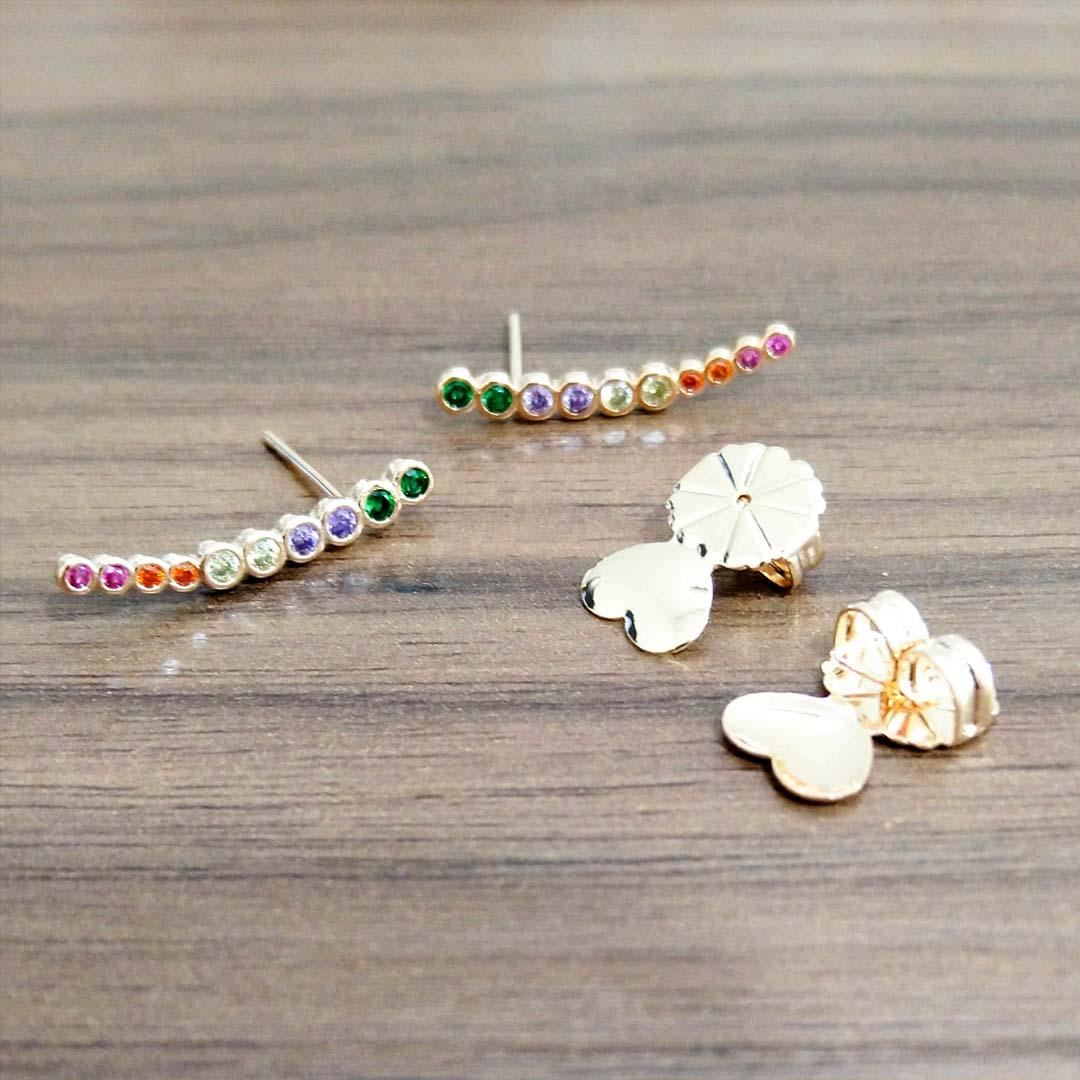 Brinco Ear cuff com Zircônias Color banho Ouro 18k