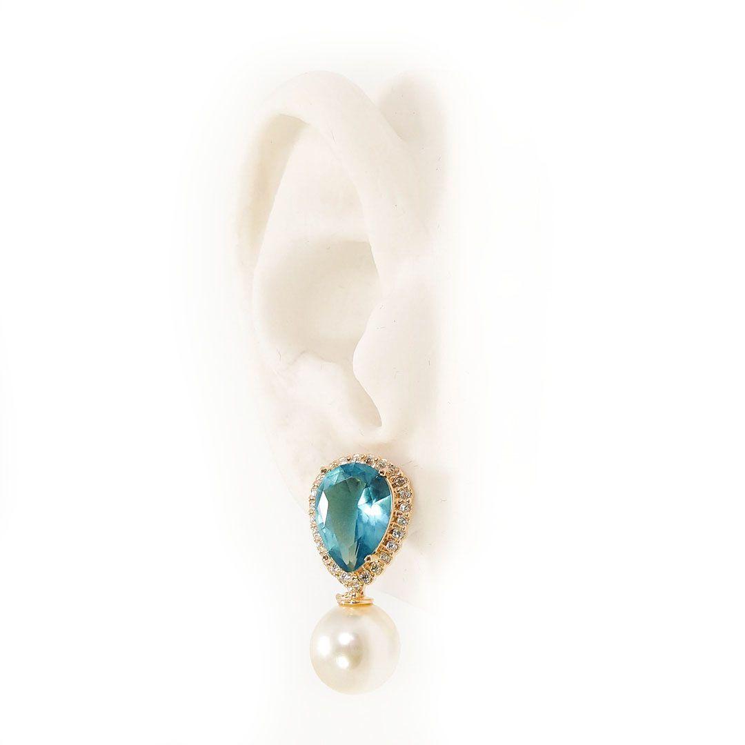 Brinco Gota Azul Cravejada com Pérola e banho em Ouro 18k