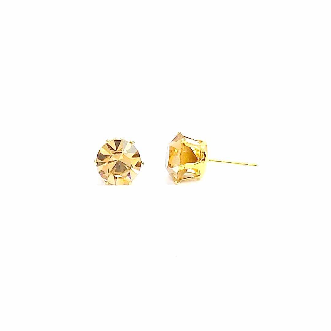 Brinco Ponto de Luz de Cristal Swarovski Dourado banho Ouro 18k