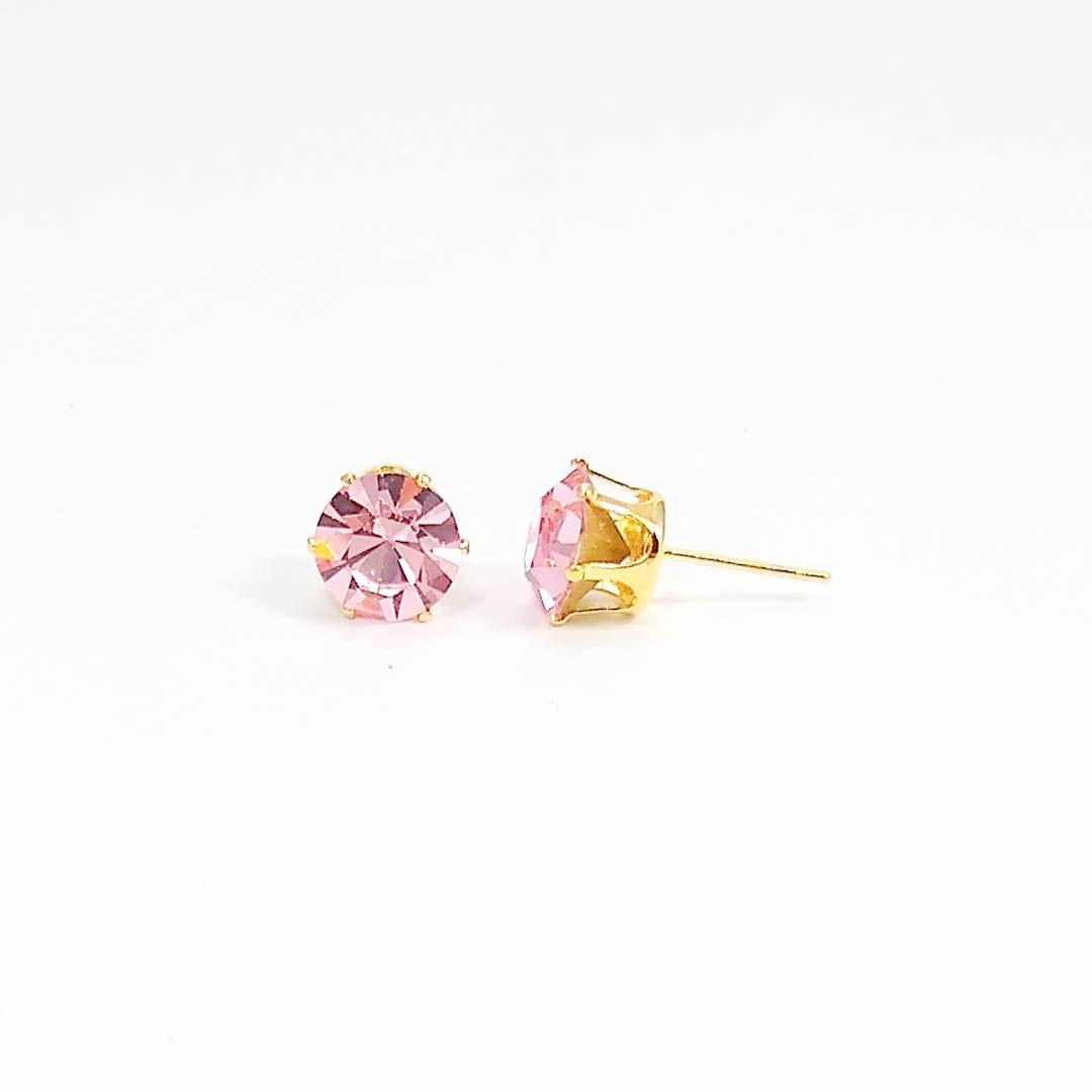 Brinco Ponto de Luz de Cristal Swarovski Rosa Claro banho Ouro 18k