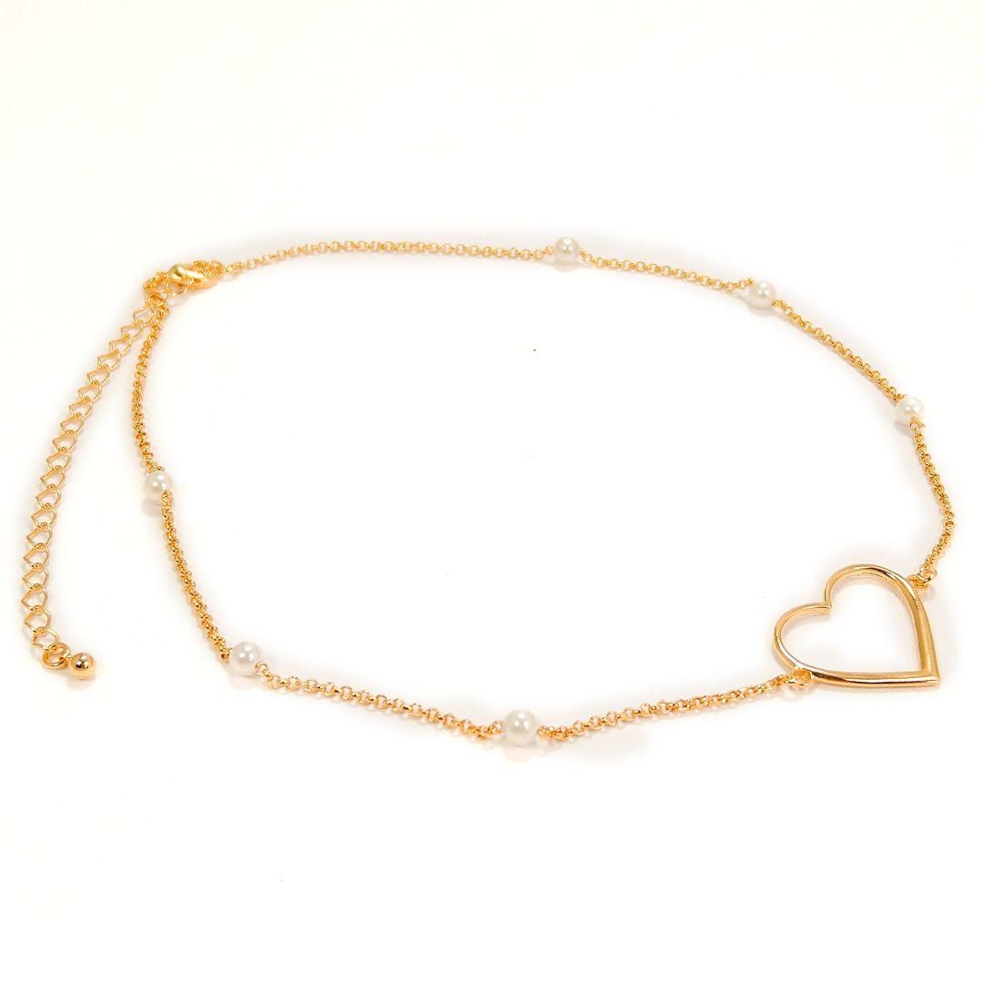 Choker Coração com Pérolas Banho Ouro 18k