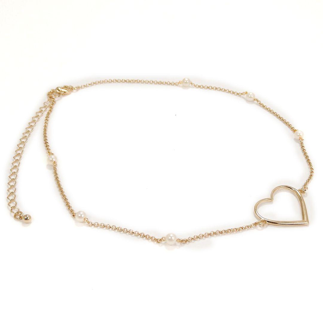 Choker Coração com Pérolas Banho Ródio Branco