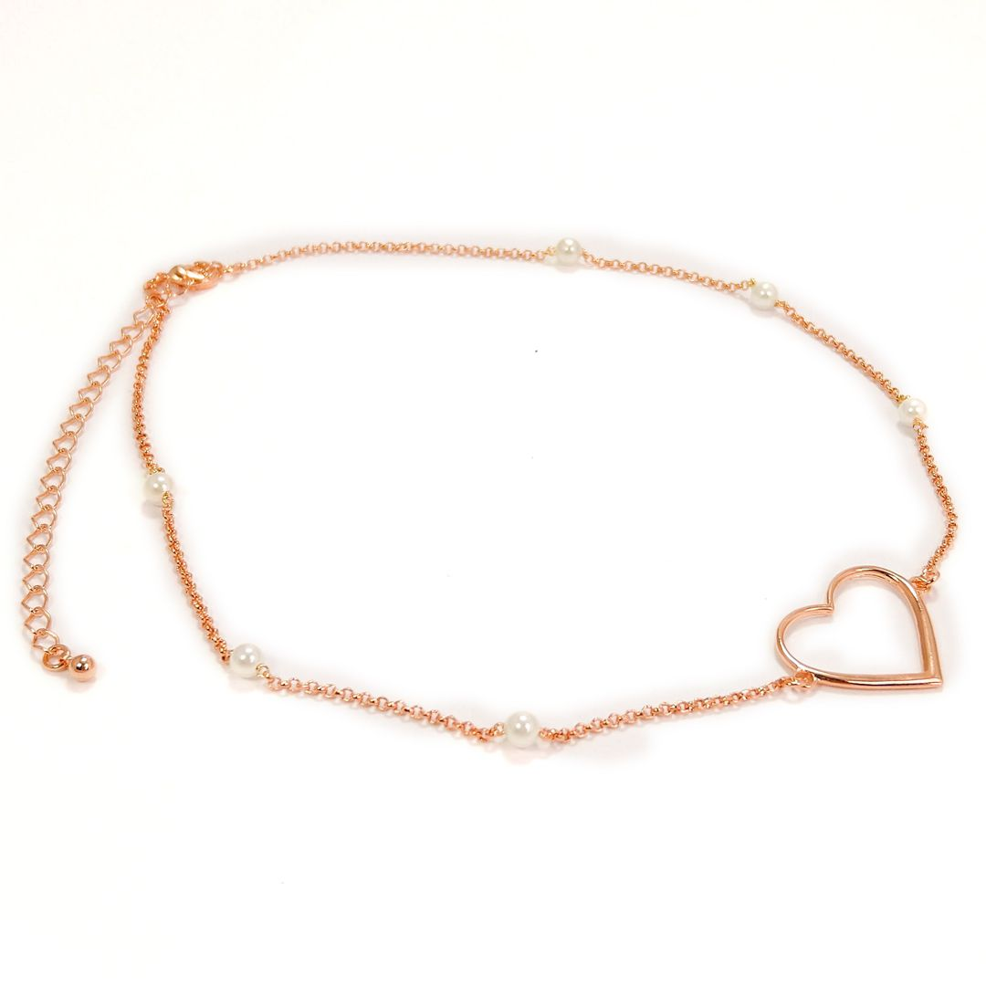 Choker Coração com Pérolas Banho Rose Gold