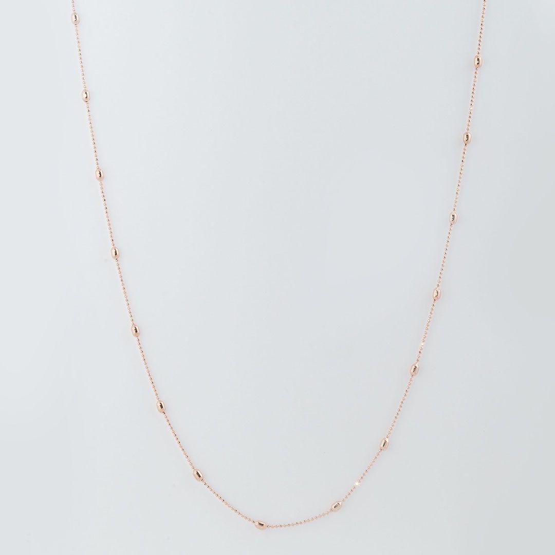 Colar Feijãozinho 80cm com banho em Ouro Rosé