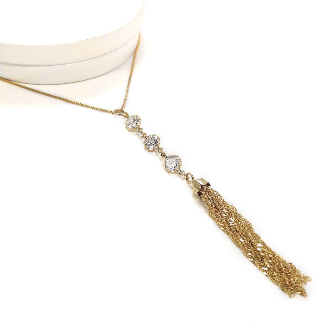 Colar Gravata com pingente de Zircônias com Tassel banho Ródio Branco