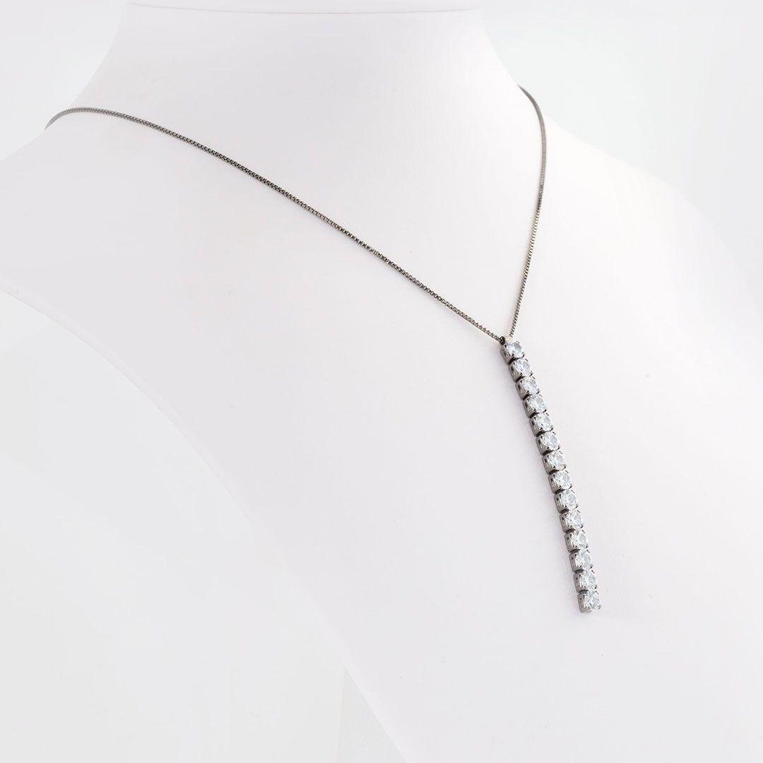 Colar Gravatinha de Zircônia com Banho em Ródio Negro
