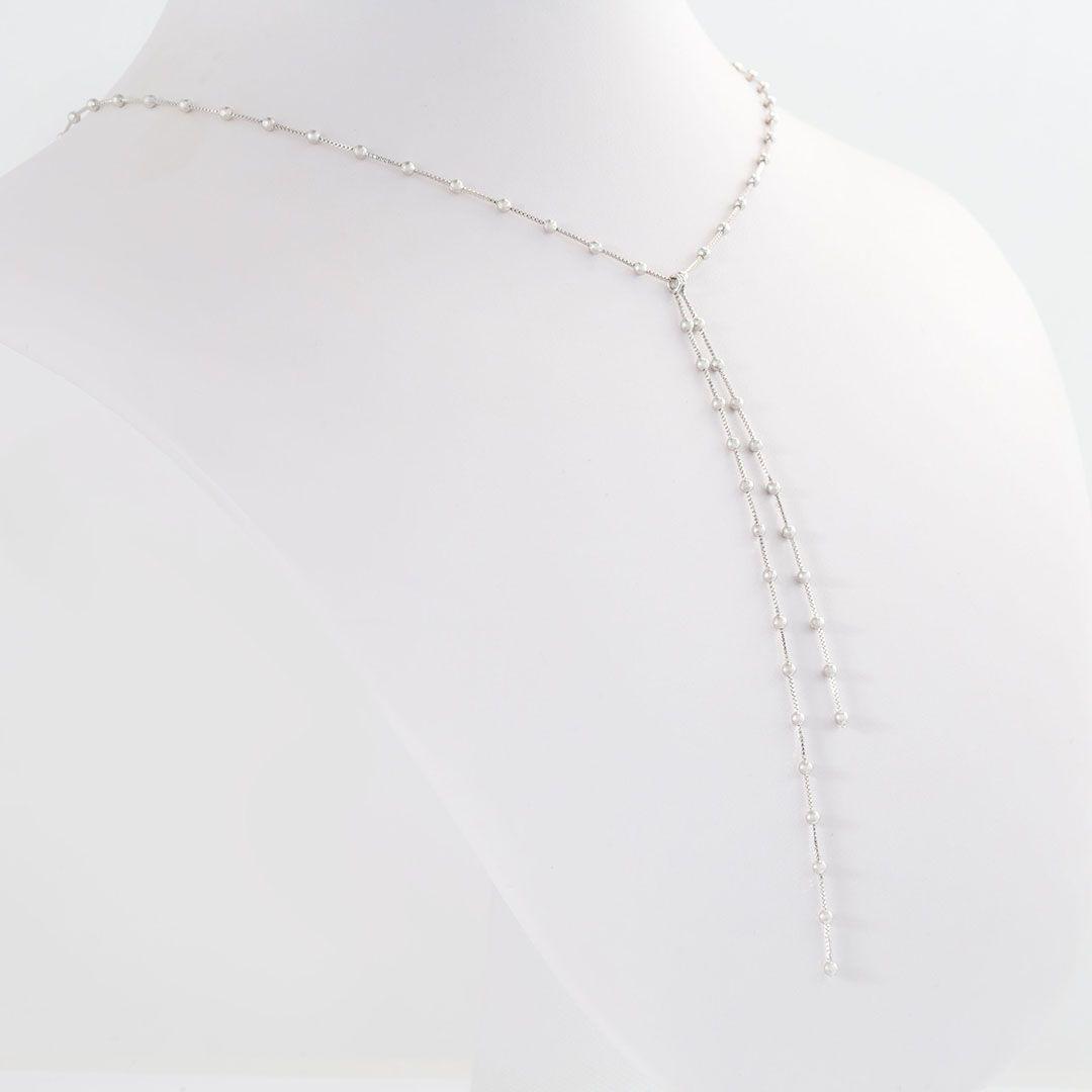 Colar Gravatinha Dupla de Bolinhas com banho em Ródio Branco