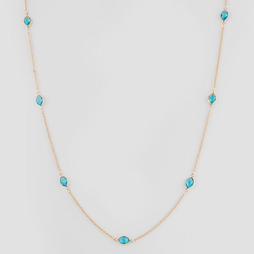 Colar longo estilo Tiffany com Cristais Ovais Azul Turquesa e banho em Ouro Amarelo