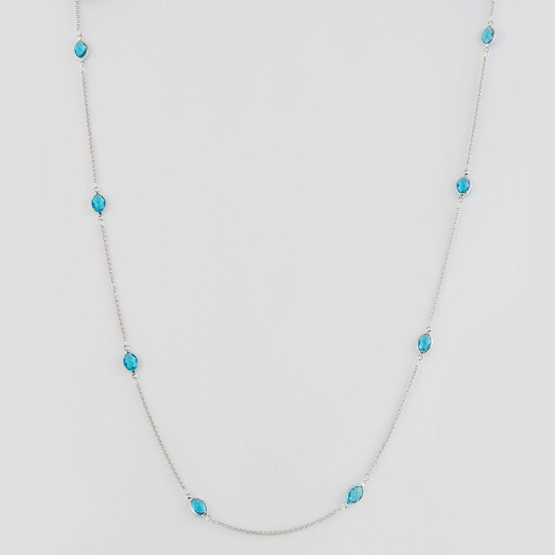 Colar longo estilo Tiffany com Cristais Ovais Azul Turquesa e banho em Ródio Branco