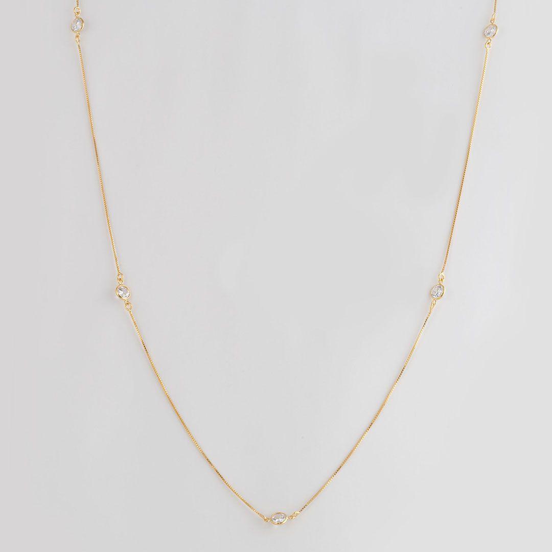 Colar longo estilo Tiffany com Pontos de Luz em Zirconia com banho em Ouro Amarelo