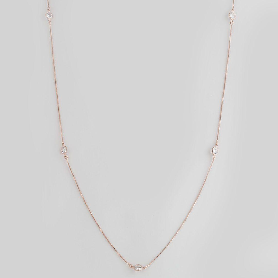 Colar longo estilo Tiffany com Pontos de Luz em Zirconia com banho em Ouro Rosé