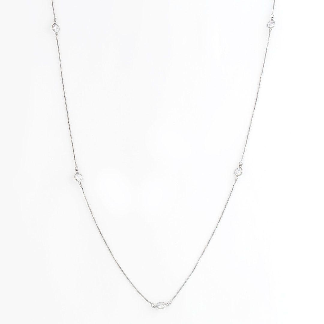 Colar longo estilo Tiffany com Pontos de Luz em Zirconia com banho em Ródio Branco
