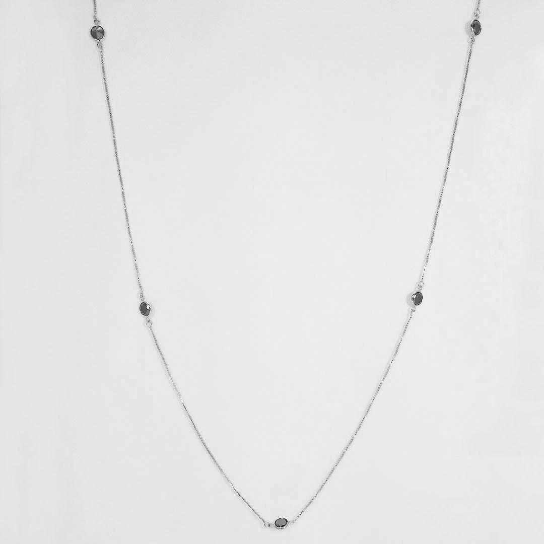 Colar longo estilo Tiffany com Pontos de Luz em Zirconia Negra com banho em Ródio Negro