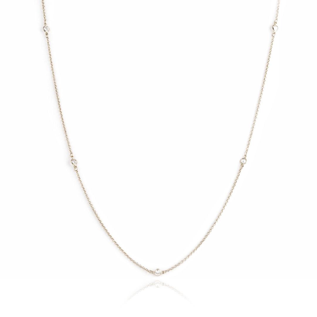 Colar Longo estilo Tiffany com Zircônia banho Ródio Branco